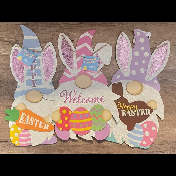 3 Easter Gnome bunnies hanging wood plaques
